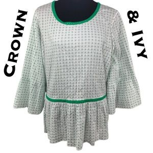 NWOT Crown & Ivy Peplum Blouse